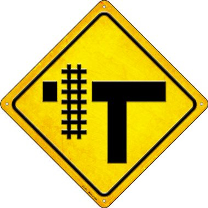 Railroad Crossing Left Novelty Metal Crossing Sign CX-451