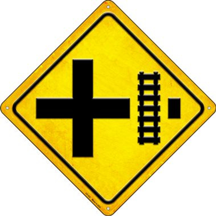 Railroad Crossing Right Novelty Metal Crossing Sign CX-452