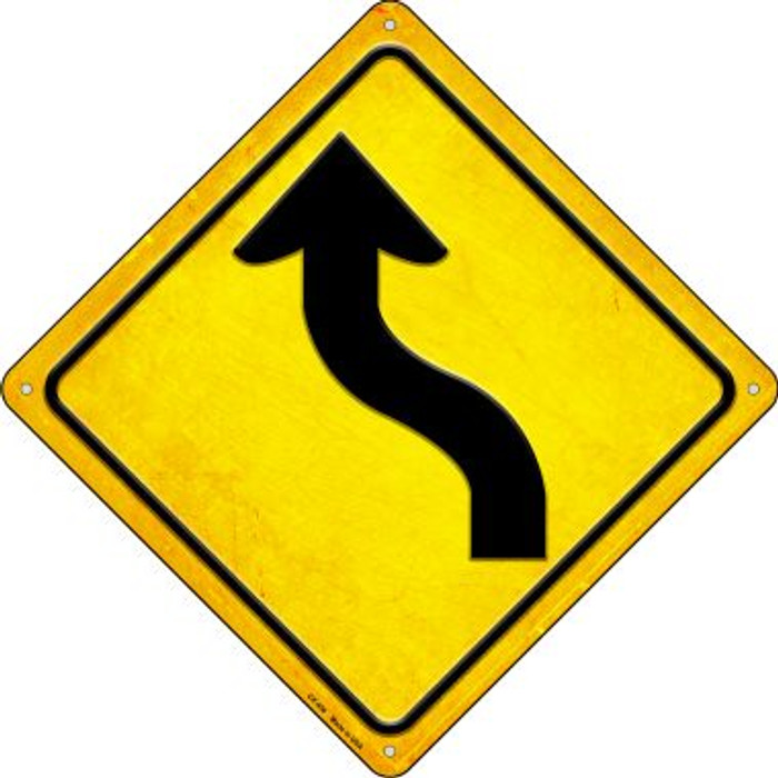 Curve Left Novelty Metal Crossing Sign CX-456