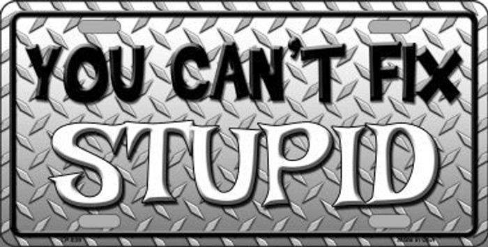 You Cant Fix Stupid Metal Novelty License Plate LP-839