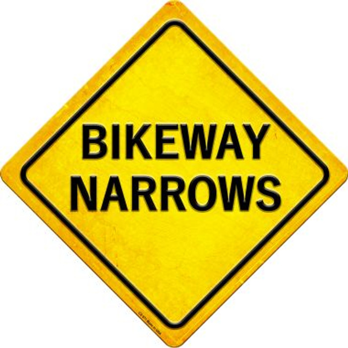 Bikeway Narrows Novelty Metal Crossing Sign CX-571
