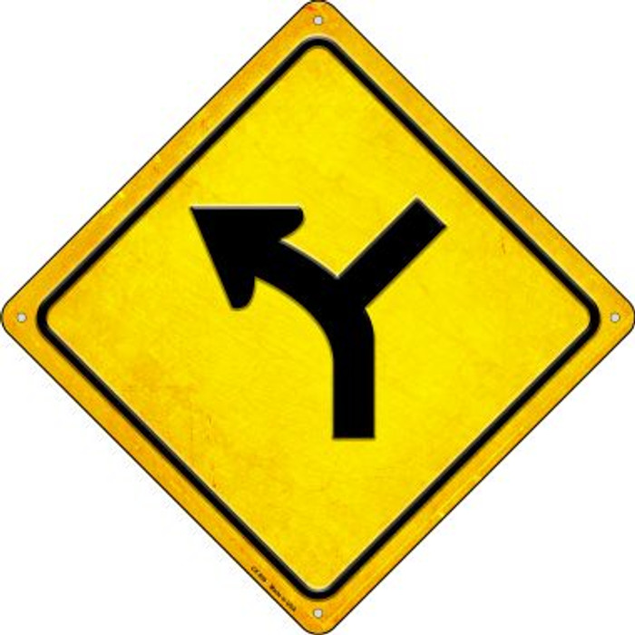 Slight Left and Side Road Novelty Metal Crossing Sign CX-599