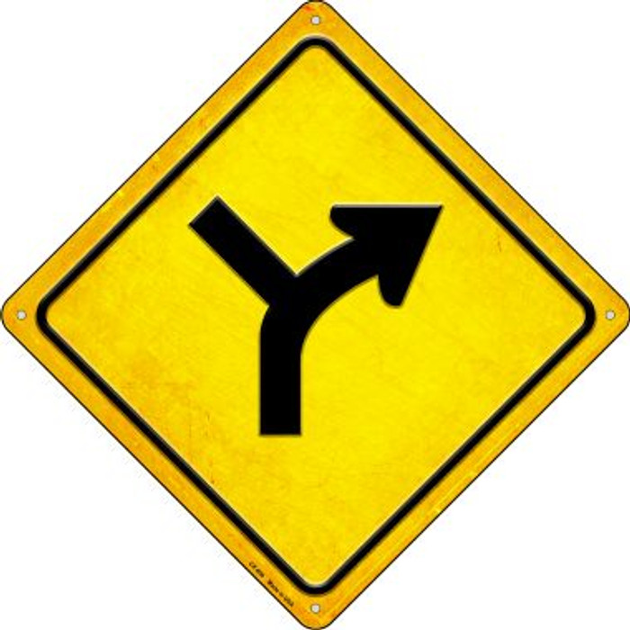 Slight Right and Side Road Novelty Metal Crossing Sign CX-600