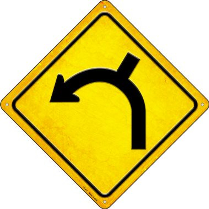 Left Turn and Side Road Novelty Metal Crossing Sign CX-611