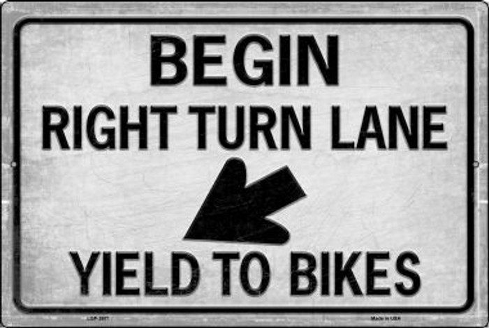 Begin Right Turn Lane Yield To Bikes Novelty Metal Large Parking Sign LGP-2671