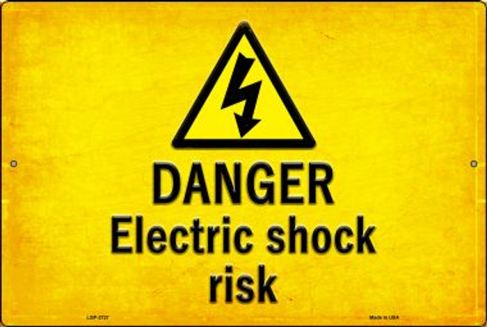 Danger Electric Shock Risk Novelty Metal Large Parking Sign LGP-2727