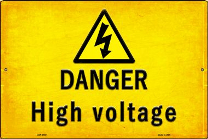 Danger High Voltage Novelty Metal Large Parking Sign LGP-2729