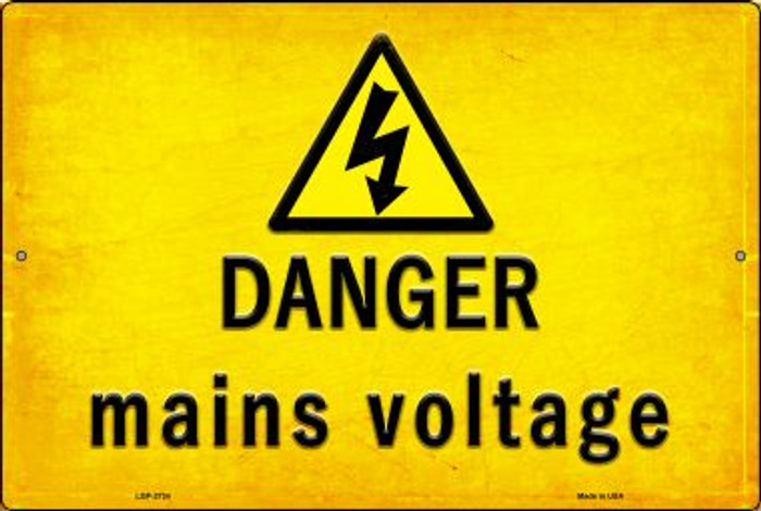 Danger Mains Voltage Novelty Metal Large Parking Sign LGP-2734