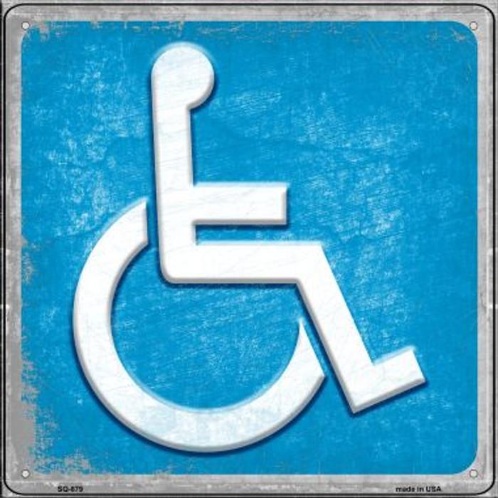 Wheelchair Novelty Metal Square Sign SQ-879