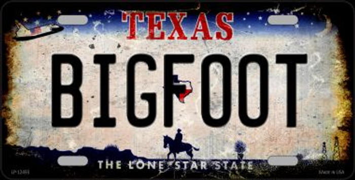 Bigfoot Texas Novelty Metal License Plate LP-12493
