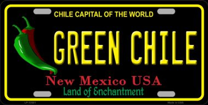 Green Chile New Mexico Black Novelty Metal License Plate LP-12501