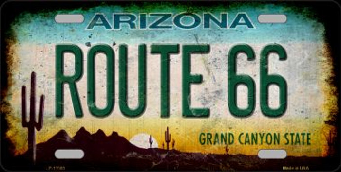 Route 66 Arizona Novelty Metal License Plate LP-12503