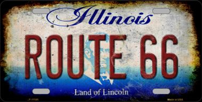 Route 66 Illinois Novelty Metal License Plate LP-12505