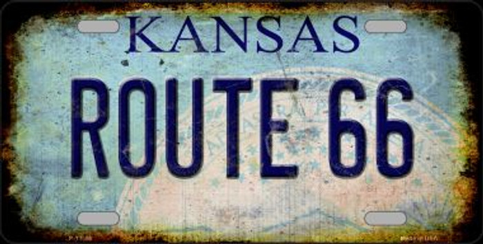 Route 66 Kansas Novelty Metal License Plate LP-12506