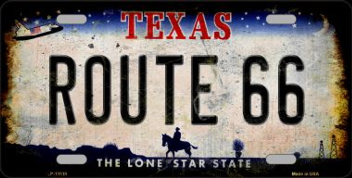Route 66 Texas Novelty Metal License Plate LP-12510