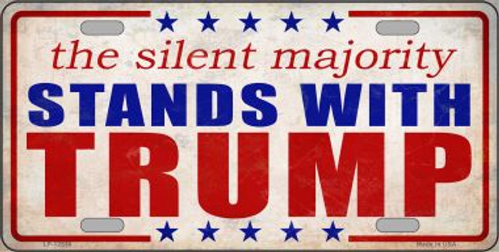 Silent Majority Stands with Trump Novelty Metal License Plate LP-12530