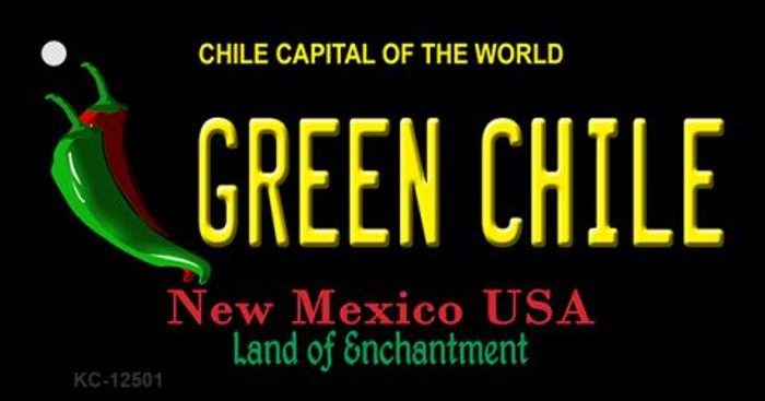 Green Chile New Mexico Black Novelty Metal Key Chain KC-12501