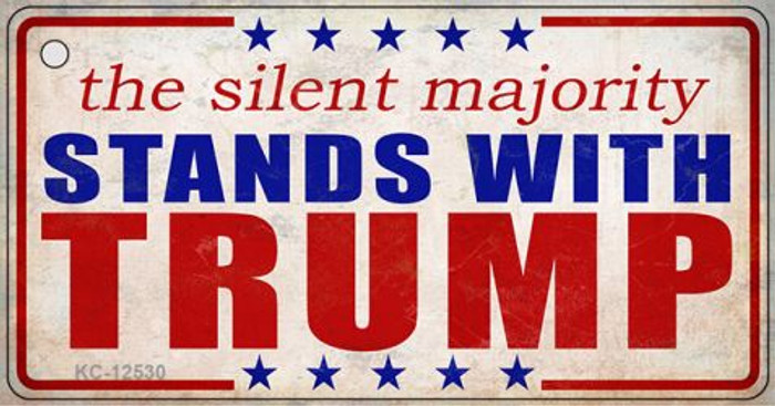 Silent Majority Stands with Trump Novelty Metal Key Chain KC-12530