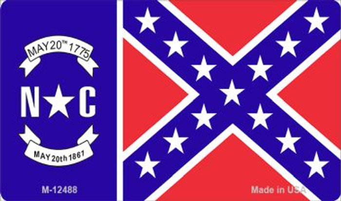 North Carolina Confederate Flag Novelty Metal Magnet M-12488