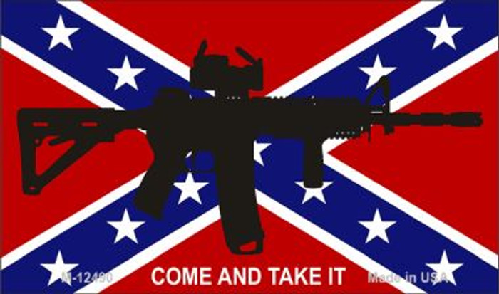 Come and Take It Confederate Flag Novelty Metal Magnet M-12490