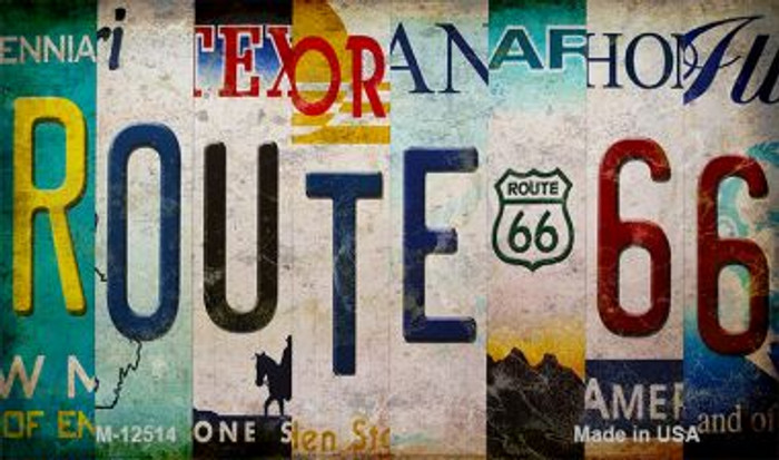 Route 66 Strip Novelty Metal Magnet M-12514