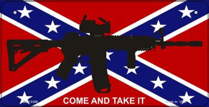 Come and Take It Confederate Flag Novelty Metal Bicycle Plate BP-12490