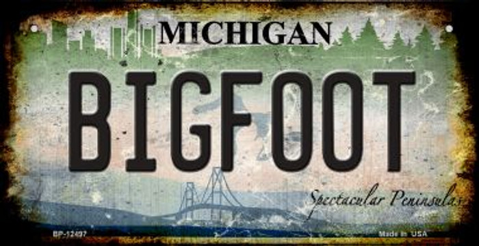 Bigfoot Michigan Novelty Metal Bicycle Plate BP-12497