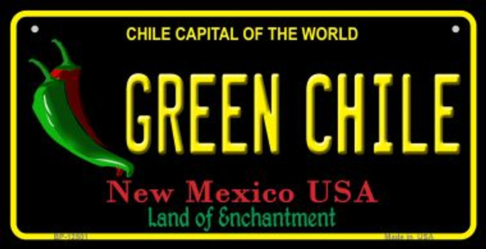 Green Chile New Mexico Black Novelty Metal Bicycle Plate BP-12501