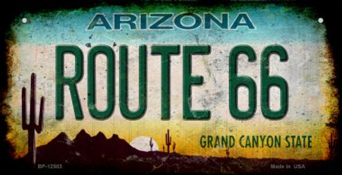 Route 66 Arizona Novelty Metal Bicycle Plate BP-12503