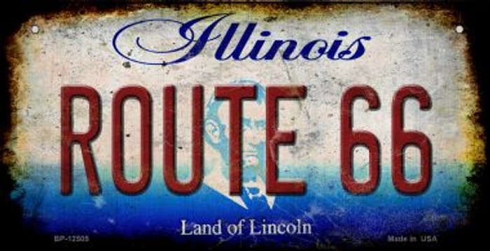 Route 66 Illinois Novelty Metal Bicycle Plate BP-12505