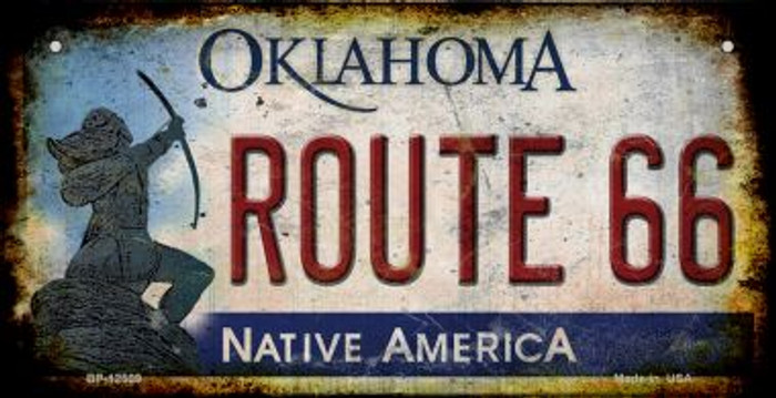Route 66 Oklahoma Novelty Metal Bicycle Plate BP-12509