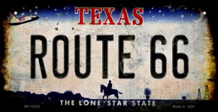 Route 66 Texas Novelty Metal Bicycle Plate BP-12510