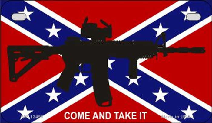 Come and Take It Confederate Flag Novelty Metal Motorcycle Plate MP-12490