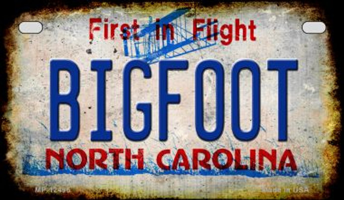 Bigfoot North Carolina Novelty Metal Motorcycle Plate MP-12496