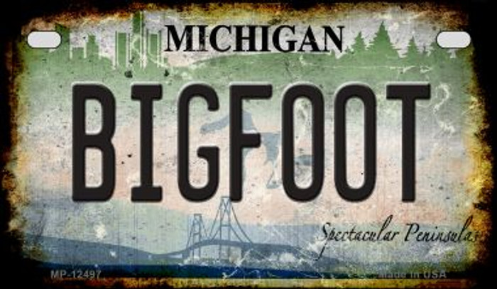 Bigfoot Michigan Novelty Metal Motorcycle Plate MP-12497