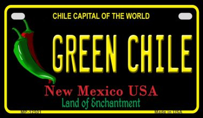 Green Chile New Mexico Black Novelty Metal Motorcycle Plate MP-12501
