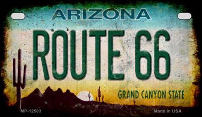 Route 66 Arizona Novelty Metal Motorcycle Plate MP-12503