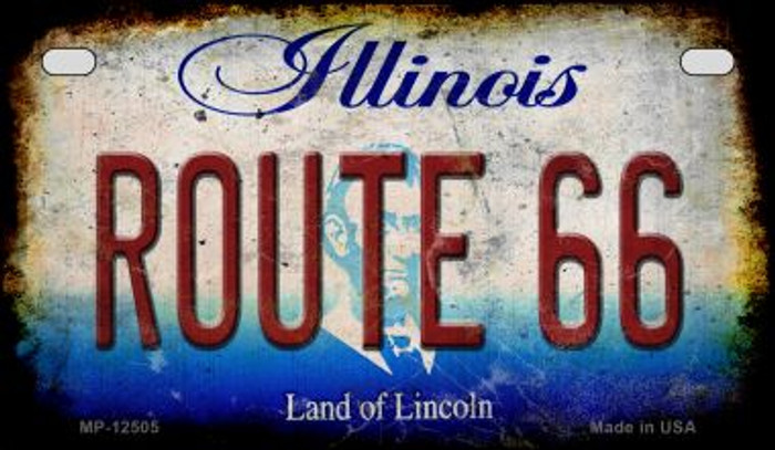 Route 66 Illinois Novelty Metal Motorcycle Plate MP-12505