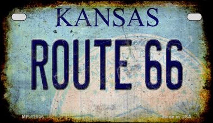Route 66 Kansas Novelty Metal Motorcycle Plate MP-12506