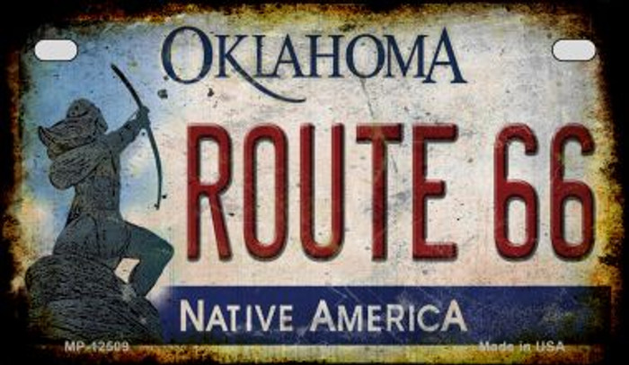 Route 66 Oklahoma Novelty Metal Motorcycle Plate MP-12509