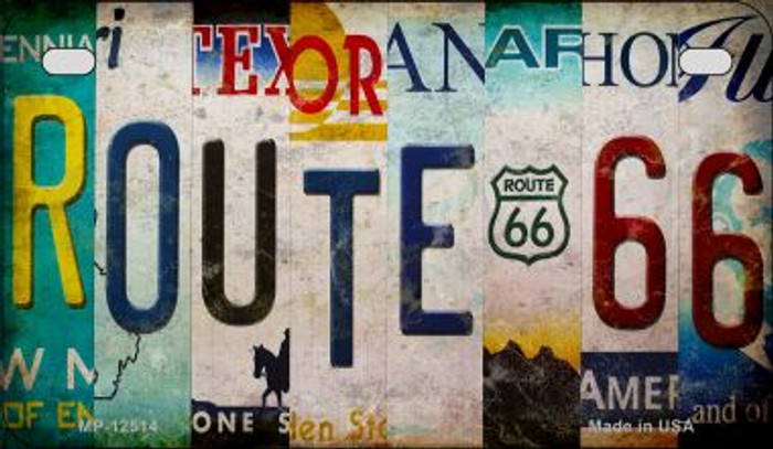 Route 66 Strip Novelty Metal Motorcycle Plate MP-12514