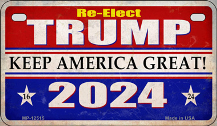 Re-Elect Trump 2024 Novelty Metal Motorcycle Plate MP-12515