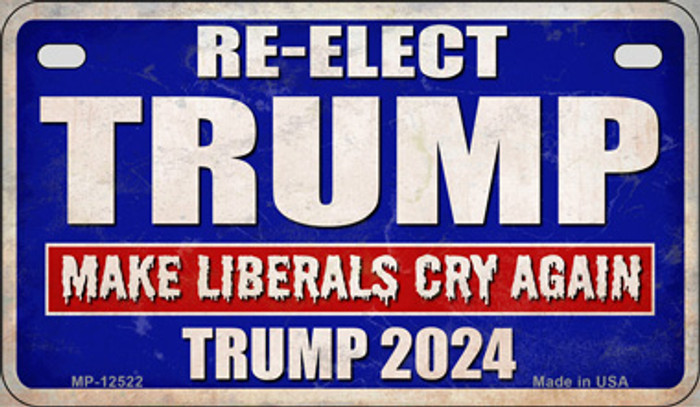 Re-Elect Trump 2024 Novelty Metal Motorcycle Plate MP-12522