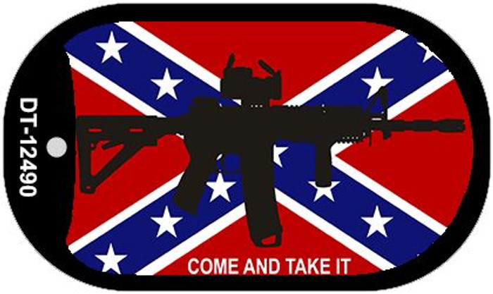 Come and Take It Confederate Flag Novelty Metal Dog Tag Necklace DT-12490