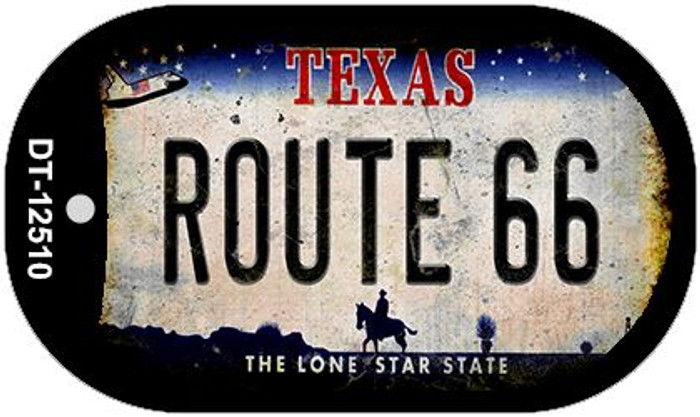 Route 66 Texas Novelty Metal Dog Tag Necklace DT-12510