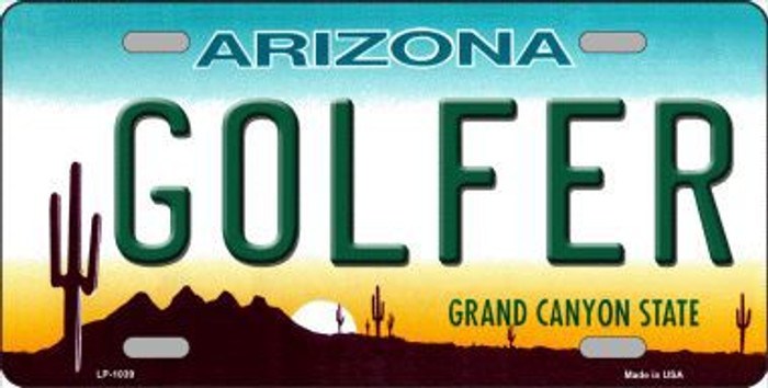 Golfer Arizona Novelty Metal License Plate