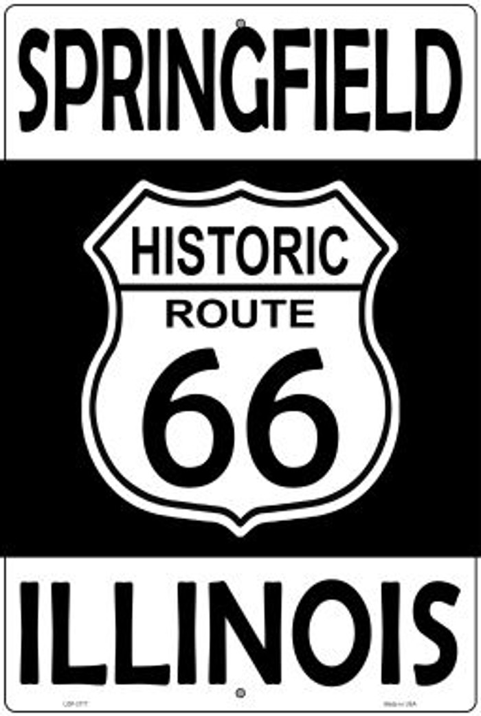 Springfield Illinois Historic Route 66 Novelty Metal Large Parking Sign LGP-2777