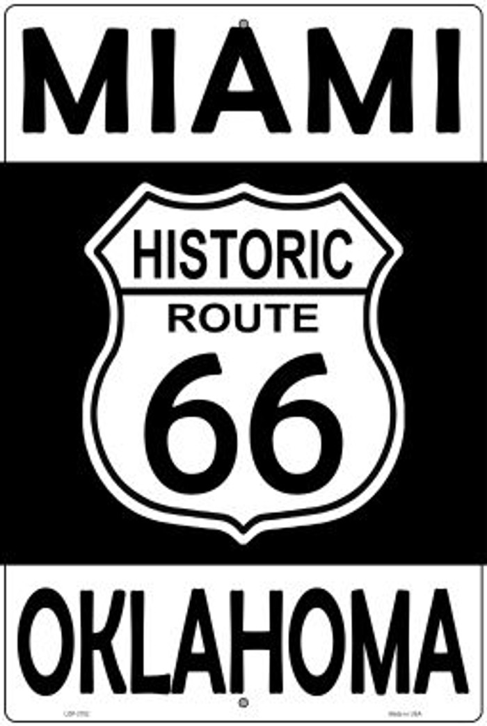 Miami Oklahoma Historic Route 66 Novelty Metal Large Parking Sign LGP-2782