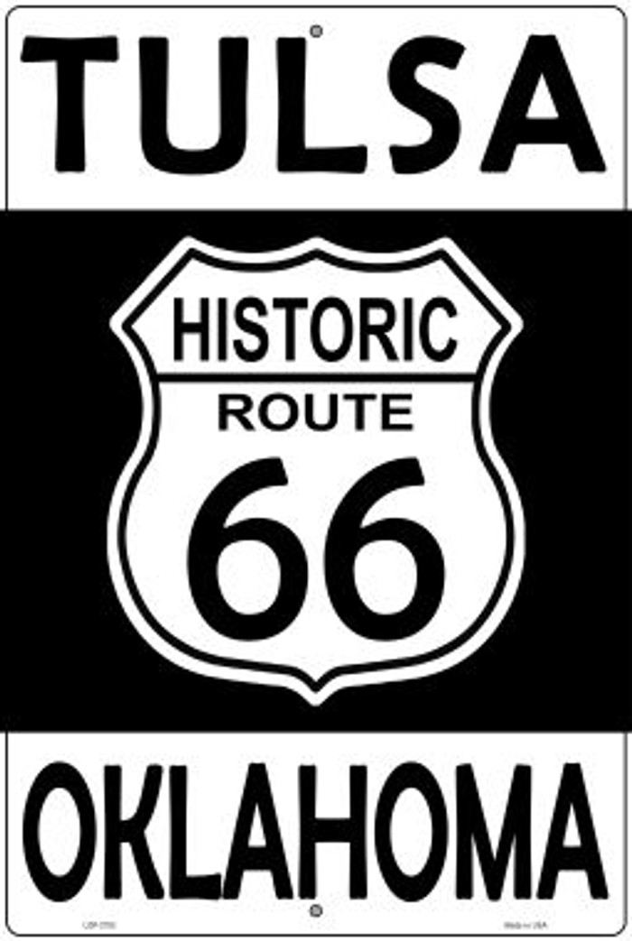 Tulsa Oklahoma Historic Route 66 Novelty Metal Large Parking Sign LGP-2783