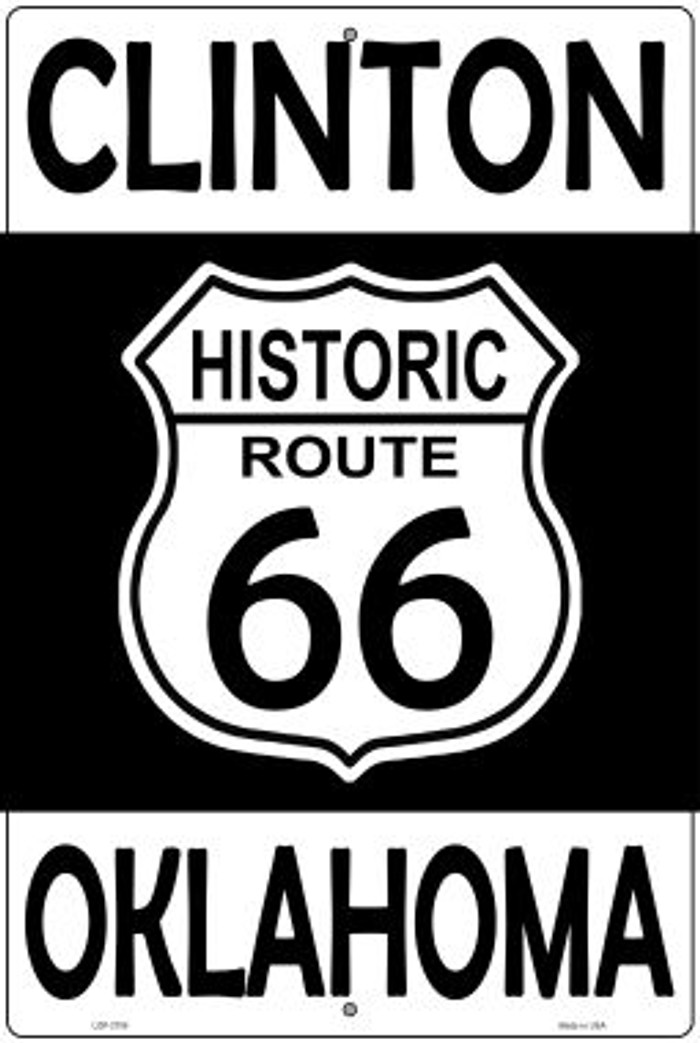 Clinton Oklahoma Historic Route 66 Novelty Metal Large Parking Sign LGP-2785